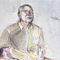 "Portrait of Frank Lobdell, by David Tomb  49.25"" x 29.25"" mixed media on paper 2002"