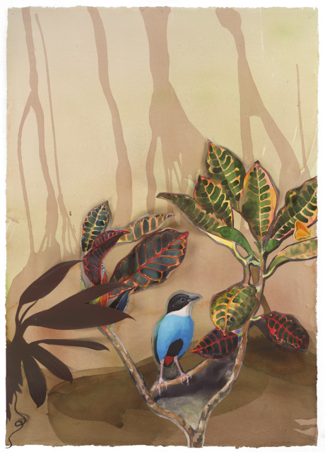 "David Tomb ""Azure-breasted Pitta"" 2012 Painted papers with mixed media and partially pasted and or completely pasted on paper with mixed media 42 x 30 inches"