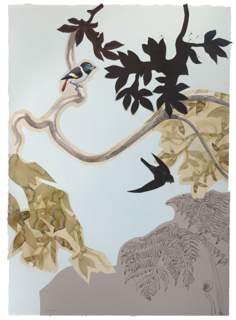 "David Tomb ""Mindanao Wattled Broadbill and Swift"" 2012 Painted papers with mixed media and partially pasted and or completely pasted on paper with mixed media 42 x 30 inches"