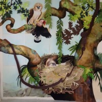 "David Tomb ""Great Philippine Eagles"" 2012 Painted papers with mixed media pinned to wall surface 130 x 180 inches"