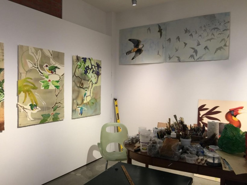 Corner of David Tomb's studio with his artwork